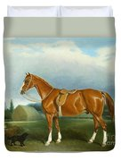 A Chestnut Hunter And A Spaniel By Farm Buildings  Duvet Cover by John E Ferneley