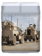 A Convoy Of Mrap Vehicles Near Camp Duvet Cover by Stocktrek Images
