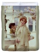 A Difference Of Opinion Duvet Cover by Sir Lawrence Alma-Tadema