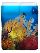 A Diver Looks On At A Colorful Reef Duvet Cover by Steve Jones