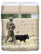 A Dog Handler Of The U.s. Marine Corps Duvet Cover by Stocktrek Images