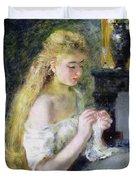 A Girl Crocheting Duvet Cover by Pierre Auguste Renoir