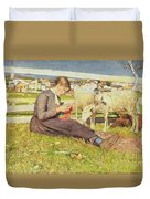 A Girl Knitting Duvet Cover by Giovanni Segantini