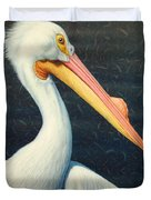 A Great White American Pelican Duvet Cover by James W Johnson