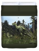 A Lambeosaurus Rears Onto Its Hind Legs Duvet Cover by Walter Myers