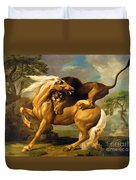 A Lion Attacking A Horse Duvet Cover by George Stubbs