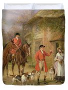 A Meeting At The Three Pigeons Duvet Cover by Heywood Hardy