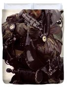 A Navy Seal Exits The Water Armed Duvet Cover by Michael Wood