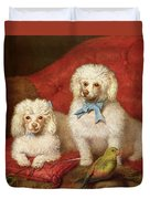 A Pair Of Poodles Duvet Cover by English School