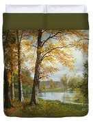 A Quiet Lake Duvet Cover by Albert Bierstadt