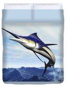 A Sleek Blue Marlin Bursts Duvet Cover by Corey Ford