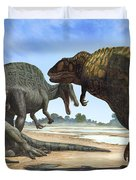 A Spinosaurus Blocks The Path Duvet Cover by Sergey Krasovskiy
