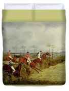 A Steeplechase - Taking A Hedge And Ditch  Duvet Cover by Henry Thomas Alken