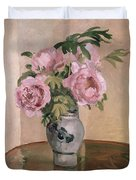 A Vase Of Peonies Duvet Cover by Camille Pissarro