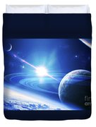 A View Of A Planet As It Looms In Close Duvet Cover by Kevin Lafin