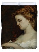 A Woman with Jewellery Duvet Cover by Gustave Courbet