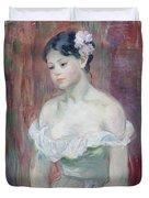 A Young Girl Duvet Cover by Berthe Morisot