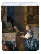 A Young Lady Seated At A Virginal Duvet Cover by Jan Vermeer