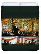 Abraham Lincoln And Stephen A Douglas Debating At Charleston Duvet Cover by Robert Marshall Root