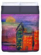 Abstract - Acrylic - Lost In The City Duvet Cover by Mike Savad