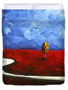 Abstract Art Original Landscape Painting WINDING ROAD by MADART Duvet Cover by Megan Duncanson