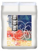 Abstract Buddha Duvet Cover by Linda Woods