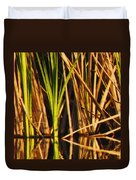 Abstract Reeds Triptych Top Duvet Cover by Steven Sparks