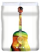 Acoustic Guitar - Colorful Abstract Musical Instrument Duvet Cover by Sharon Cummings