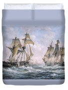 Action Between U.s. Sloop-of-war 'wasp' And H.m. Brig-of-war 'frolic' Duvet Cover by Richard Willis