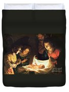 Adoration Of The Baby Duvet Cover by Gerrit van Honthorst