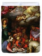 Adoration of the Shepherds Duvet Cover by Abraham Bloemaert
