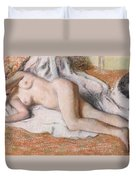 After The Bath Or Reclining Nude Duvet Cover by Edgar Degas