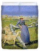 Afternoon in the Alps Duvet Cover by Giovanni Segantini