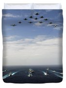 Aircraft Fly Over A Group Of U.s Duvet Cover by Stocktrek Images