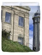 ALCATRAZ CELL HOUSE and LIGHTHOUSE Duvet Cover by Daniel Hagerman
