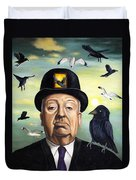 Alfred Hitchcock Duvet Cover by Leah Saulnier The Painting Maniac