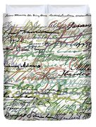 All The Presidents Signatures Green Sepia Duvet Cover by Tony Rubino