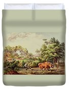 American Farm Scenes Duvet Cover by Currier and Ives