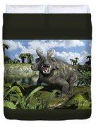 An Estemmenosuchus Mirabilis Stands Duvet Cover by Walter Myers