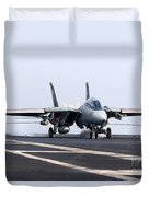 An F-14d Tomcat Makes An Arrested Duvet Cover by Gert Kromhout
