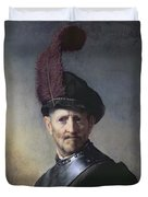 An Old Man In Military Costume Duvet Cover by Rembrandt