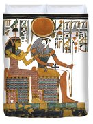 Ancient Egyptian Gods Hathor And Re Duvet Cover by Ben  Morales-Correa