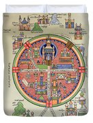 Ancient Map Of Jerusalem And Palestine Duvet Cover by French School