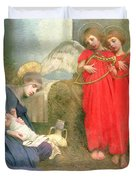 Angels Entertaining The Holy Child Duvet Cover by Marianne Stokes
