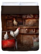 Animal - Chicken - The Duck Is A Spy  Duvet Cover by Mike Savad