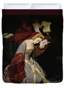 Anne Boleyn In The Tower Duvet Cover by Edouard Cibot