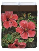 Antique Hibiscus Black 2 Duvet Cover by Debbie DeWitt