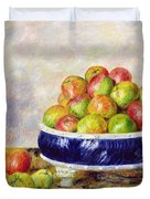 Apples in a Dish Duvet Cover by  Pierre Auguste Renoir