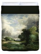Approaching Storm Clouds Duvet Cover by Thomas Moran