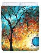 Aqua Burn by MADART Duvet Cover by Megan Duncanson